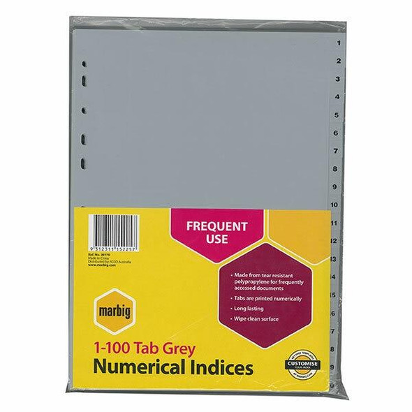 Marbig Indices and Dividers 1-100 Tab Pp A4 Grey 35170