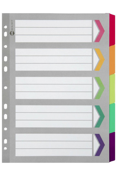 Marbig Indices and Dividers 5 Tab Reinforced A4 Fluoro X CARTON of 10 36011F