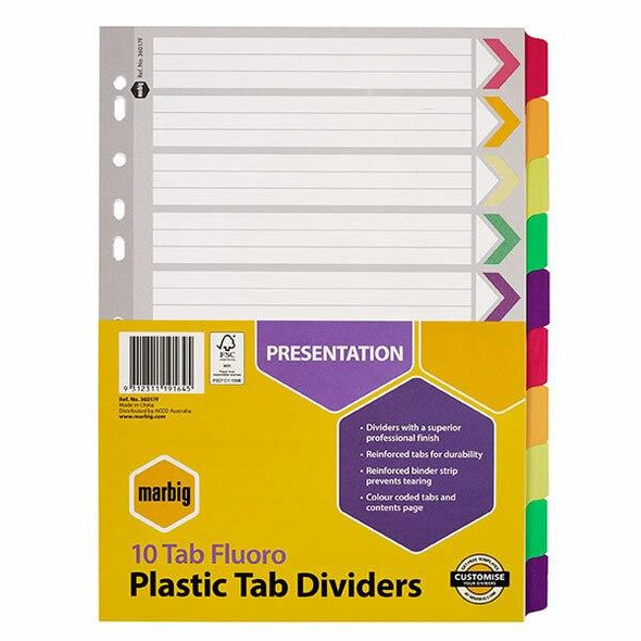 Marbig Indices and Dividers 10 Tab Reinforced A4 Fluoro X CARTON of 10 36017F