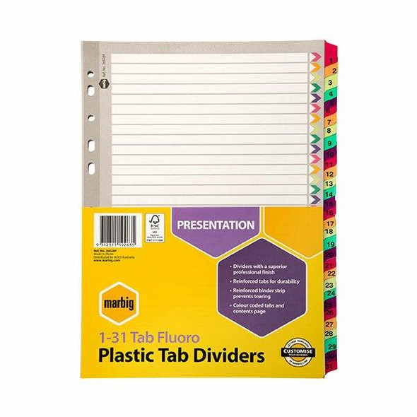 Marbig Indices and Dividers 1-31 Tab Reinforced A4 Fluoro X CARTON of 10 36028F