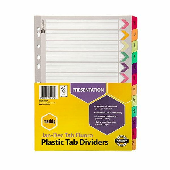 Marbig Indices and Dividers Jan-Dec Tab Reinforced A4 Fluoro X CARTON of 10 36029F