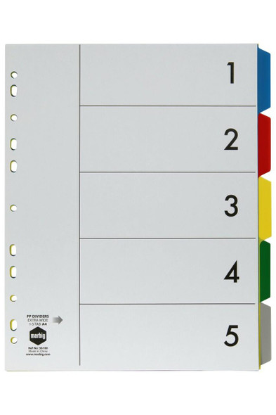 Marbig Indices and Dividers 5 Tab Pp A4 Extra Wide X CARTON of 10 36100