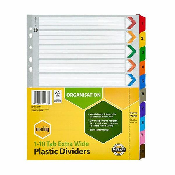 Marbig Indices and Dividers 1-10 Tab Manilla A4 Extra Wide X CARTON of 10 36250F