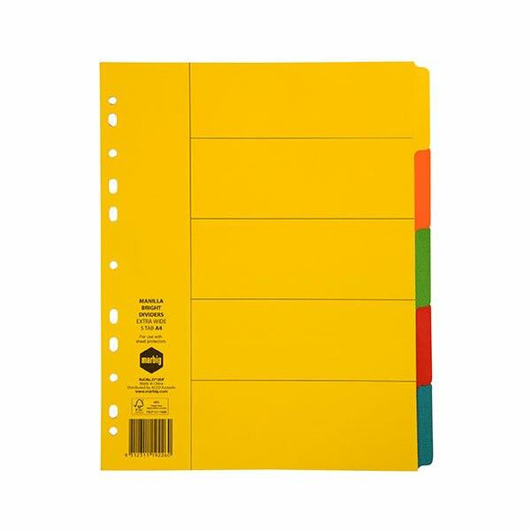 Marbig Indices and Dividers 5 Tab Manilla A4 Extra Wide X CARTON of 25 37180F