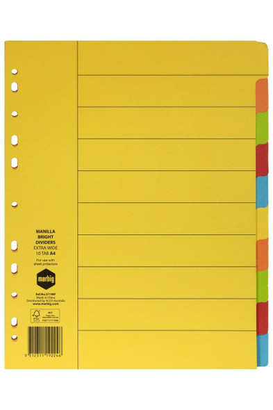 Marbig Indices and Dividers 10 Tab Manilla A4 Extra Wide X CARTON of 25 37190F