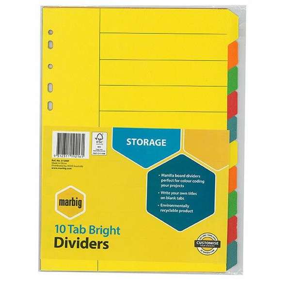 Marbig Indices and Dividers 10 Tab Manilla A4 Brights X CARTON of 50 37200F