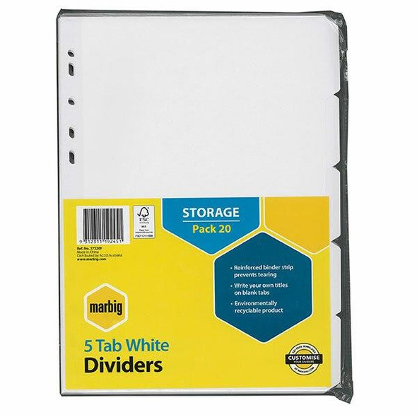 Marbig Indices and Dividers 5 Tab Manilla A4 White Bulk X CARTON of 5 37320F