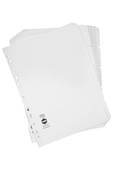 Marbig Indices and Dividers 5 Tab Manilla A4 White Bulk X CARTON of 37320F