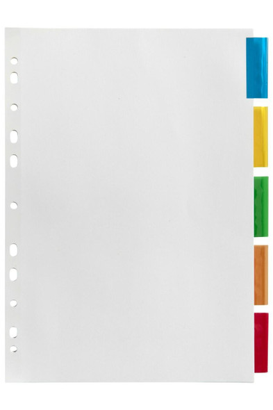 Marbig Indices and Dividers 5 Insert Tab Manilla A4 Colour X CARTON of 20 37640F