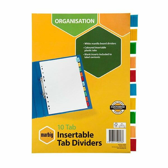 Marbig Indices and Dividers 10 Insert Tab Manilla A4 Colour X CARTON of 10 37645F