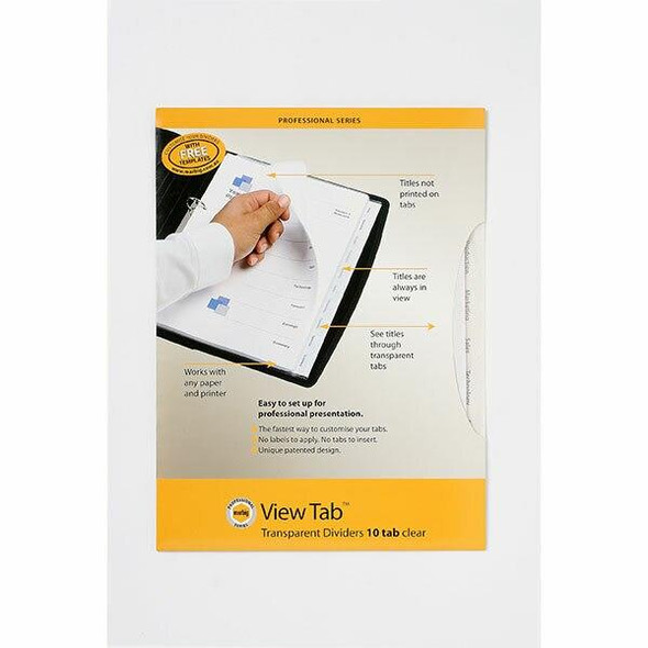 Marbig Professional Indices and Dividers 10 Tab Pp A4 Clear X CARTON of 10 37820