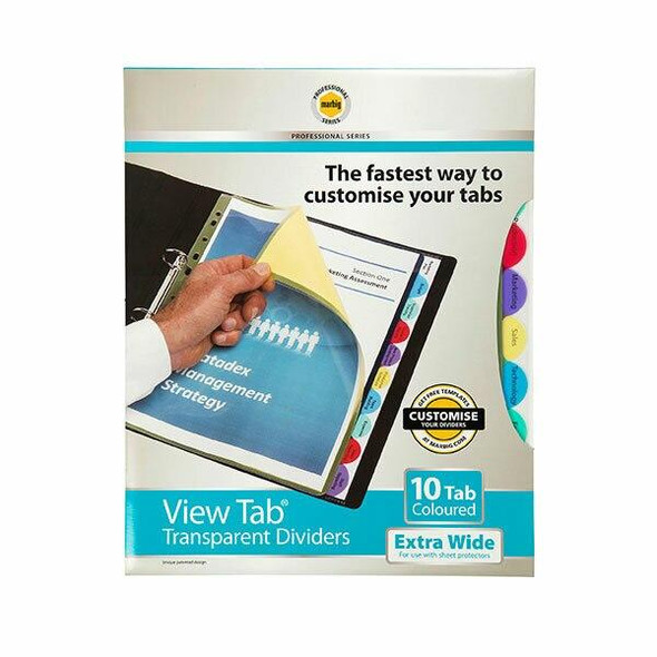Marbig Professional Indices and Dividers 10 Tab Pp A4 Extra Wide X CARTON of 10 37840