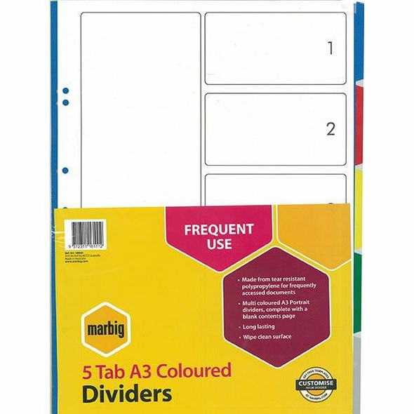 Marbig Indices and Dividers 5 Tab Pp A3 Portrait 38805
