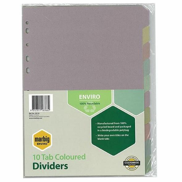 Marbig Enviro Indices and Dividers 10 Tab Manilla Colour X CARTON of 10 39110