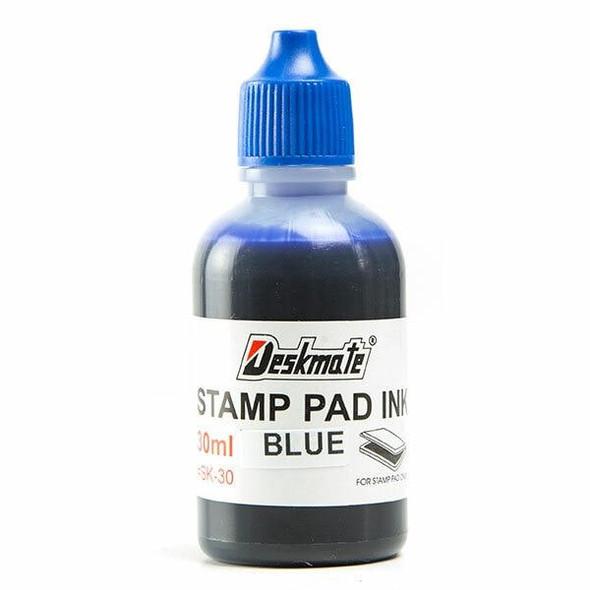 Deskmate Stamp Pad Refill Ink 30ml Blue 40014