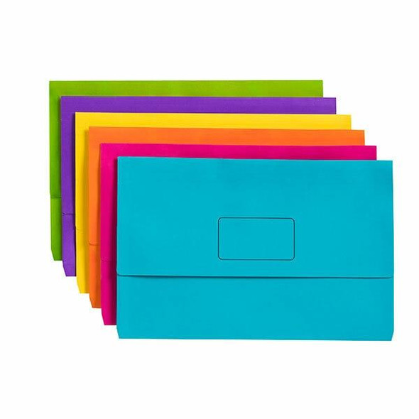 Marbig Slimpick Foolscap Document Wallet Brights Assorted Pack10 X CARTON of 5 4004399