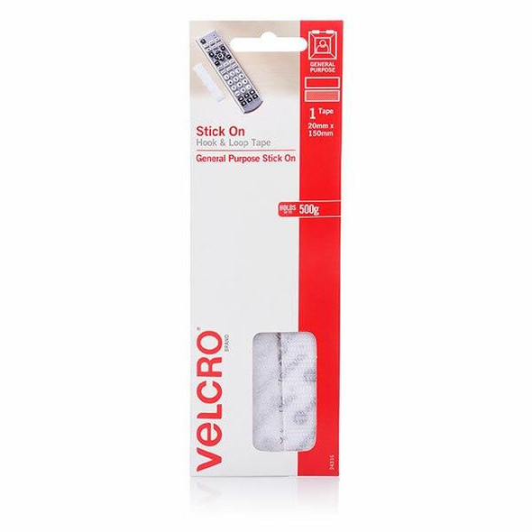 VELCRO Stick On Hook and Loop Strips 20mm X 150mm White Pack1 CARTON of 10 43031