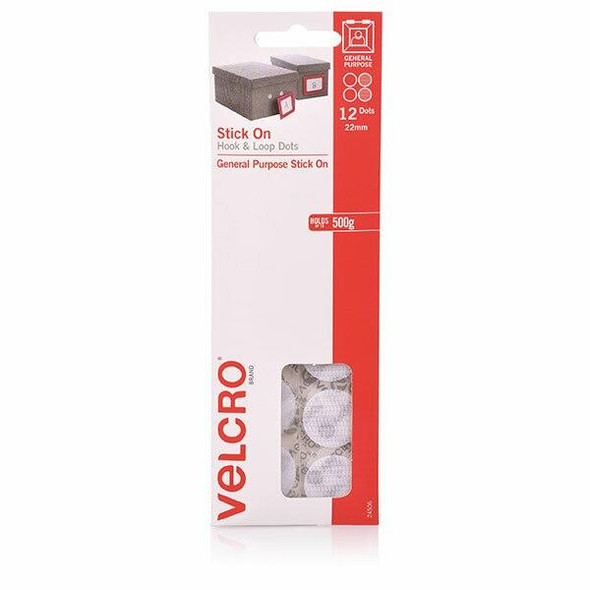 VELCRO Stick On Hook and Loop Dots 12 22mm White X CARTON of 10 43032