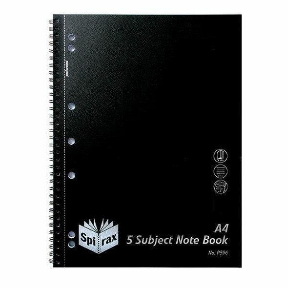 Spirax P596 Pp 5 Subject Notebook A4 250 Page Black S/O X CARTON of 5 4311100