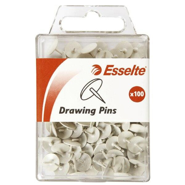 Esselte Pins Drawing Pack100 White 45107