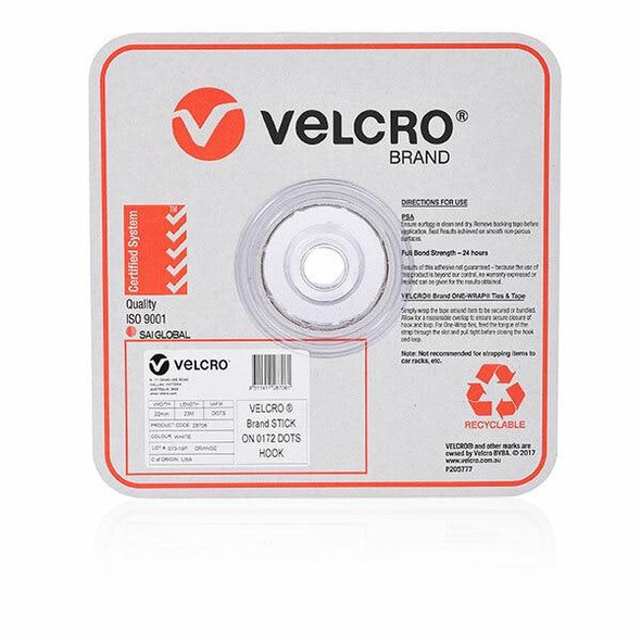 VELCRO Stick On Hook Only Dots 22mm 900 White 45308