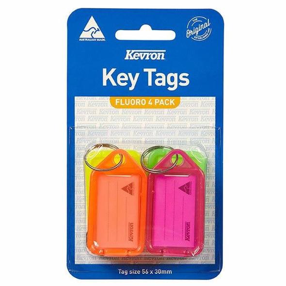 Kevron ID38 Keytags Fluoro Assorted Pack 4 X CARTON of 20 45707