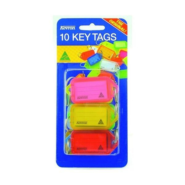 Kevron ID38 Keytags Fluoro Assorted Pack 10 46944