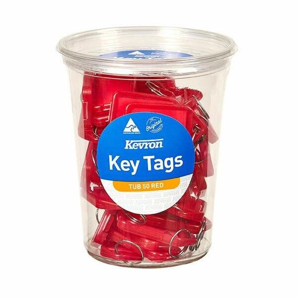 Kevron ID5 Keytags Red Disposable Tub 50 47048