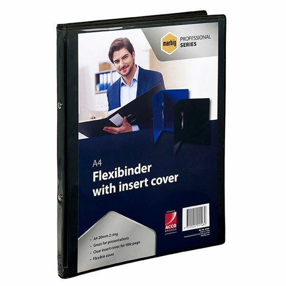Marbig Professional Flexibinder 2r 20mm A4 Clr Fro Black X CARTON of 18 47483