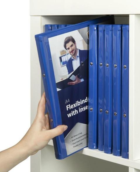 Marbig Professional Flexibinder 2r 20mm A4 Clr Fro Blue X CARTON of 18 47485