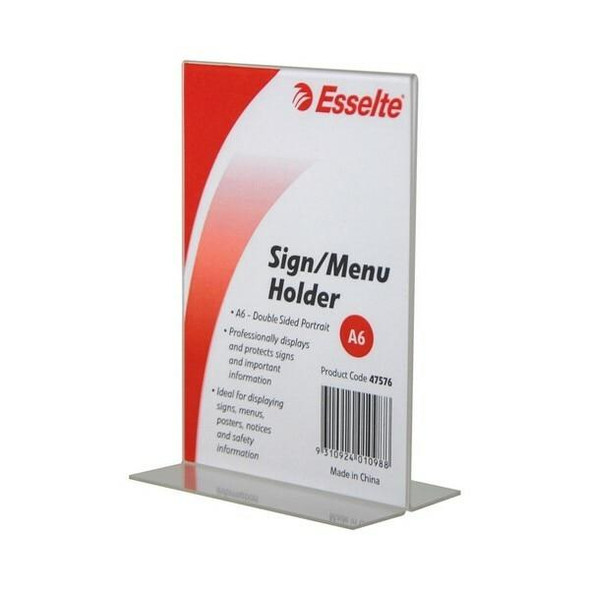 Esselte Sign/Menu Holder 2 Sided Port A6 47576
