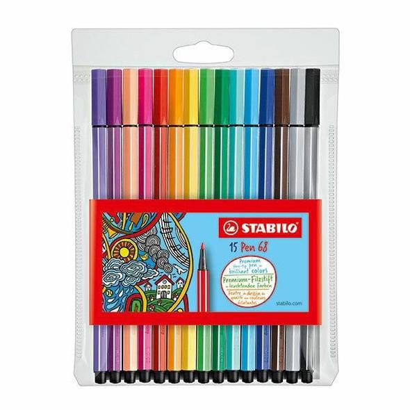 STABILO Pen 68 Fibre Tip Assorted Wallet15 49432