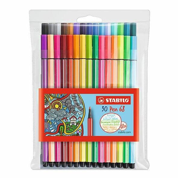 STABILO Pen 68 Fibre Tip Assorted Wallet30 49435