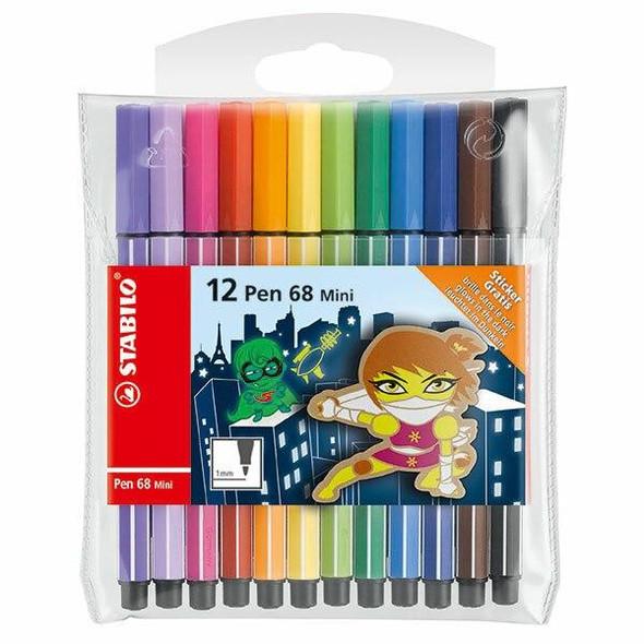 STABILO Pen 68 Fibre Tip Mini Wallet12pc X CARTON of 10 49720