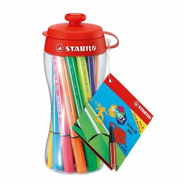 STABILO Pen 68 Fibre Tip Mini Wallet18pc X CARTON of 10 49721