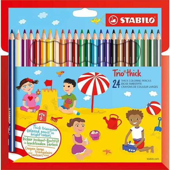 STABILO Trio Thick Coloured Pencils Wallet24 X CARTON of 6 49736