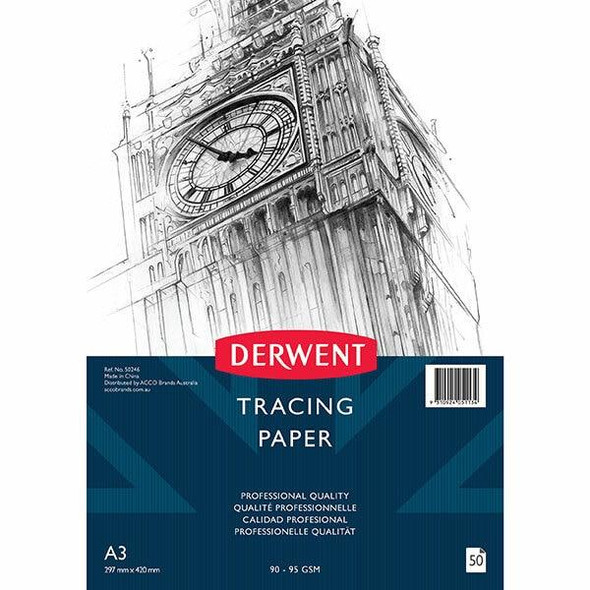 DERWENT Professional Tracing Paper 90-95gsm A3 Pad 50 Sheets X CARTON of 5 50246