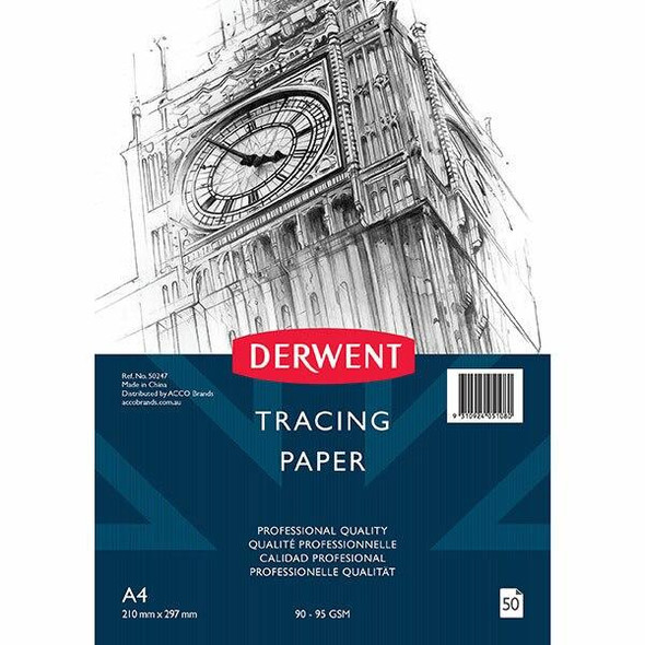 DERWENT Professional Tracing Paper 90-95gsm A4 Pad 50 Sheet X CARTON of 5 50247
