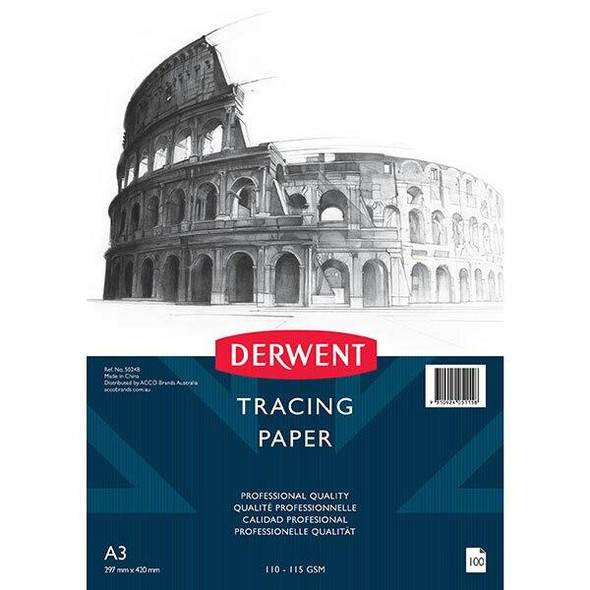 DERWENT Professional Tracing Paper 110-115gsm A3 Pack100 50248