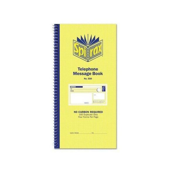 Spirax 550 Telephone Message Book 279x144mm X CARTON of 10 55227
