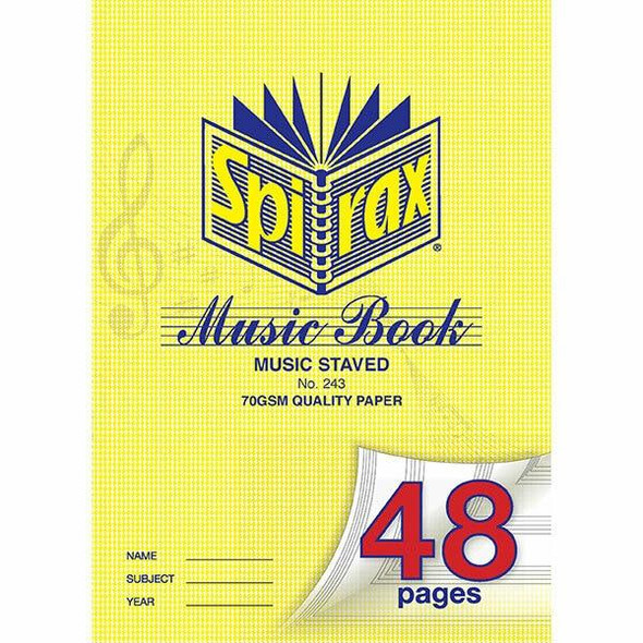 Spirax 243 Music Book A4 48page X CARTON of 20 55243