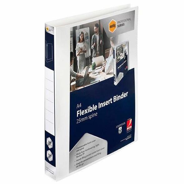 Marbig Professional Pp Insert Binder 4d 25mm White X CARTON of 40 5602004