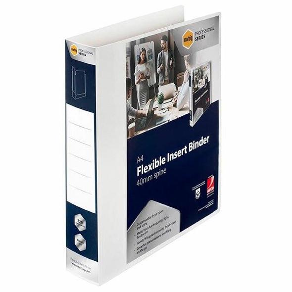 Marbig Professional Pp Insert Binder 4d 40mm White X CARTON of 21 5603004