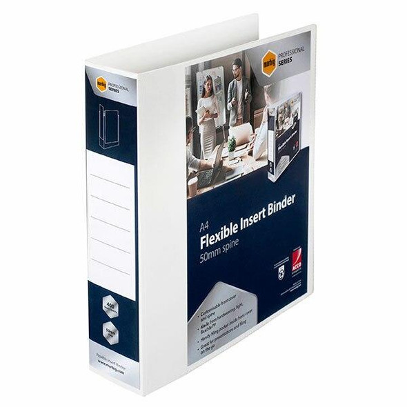 Marbig Professional Pp Insert Binder 2d 50mm White X CARTON of 12 5604002
