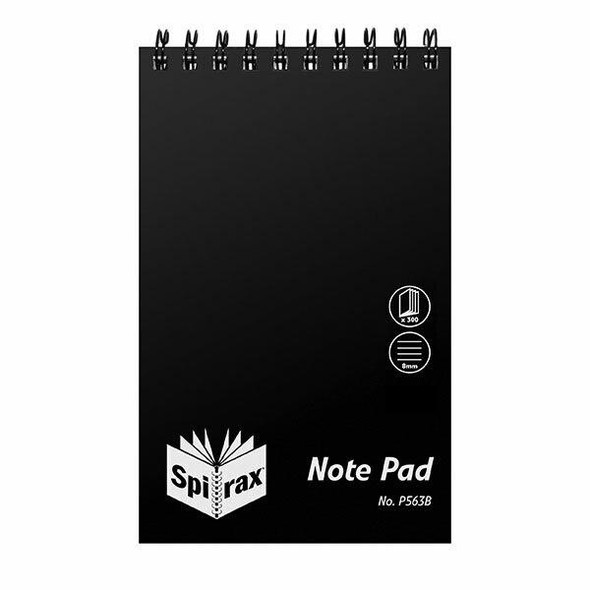 Spirax P563b Pp Notebook Reporters 200x127mm 300 Page Black T/O X CARTON of 10 5605000