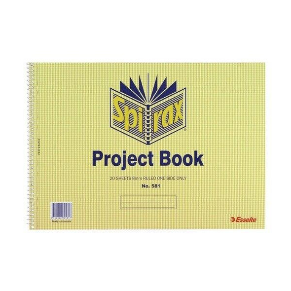 Spirax 581 Project Book 252x360mm 20 Leaf/40 Page X CARTON of 10 56060