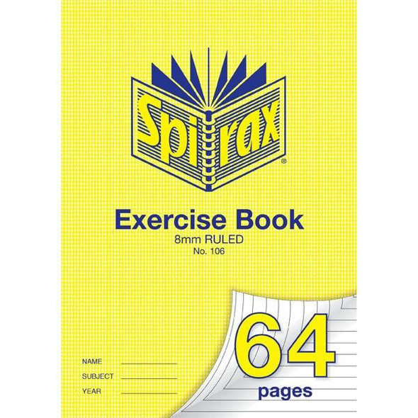 Spirax 106 Exercise Book 64 Page A4 8mm Ruled X CARTON of 20 56106