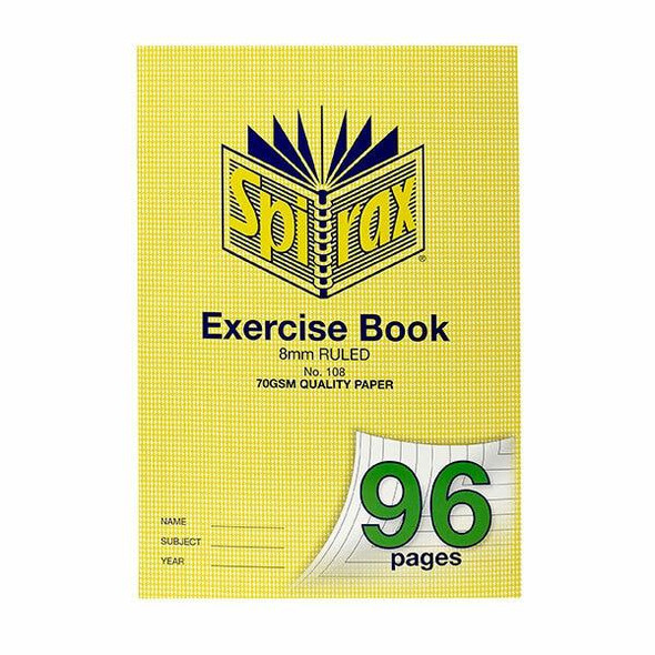 Spirax 108 Exercise Book A4 96 Page 8mm X CARTON of 10 56108