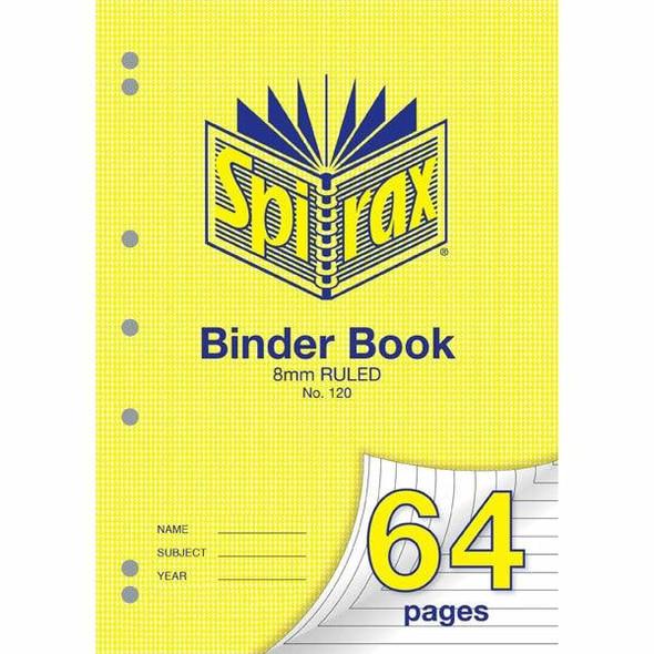 Spirax 120 Binder Book 64 Page A4 8mm Ruled X CARTON of 20 56120
