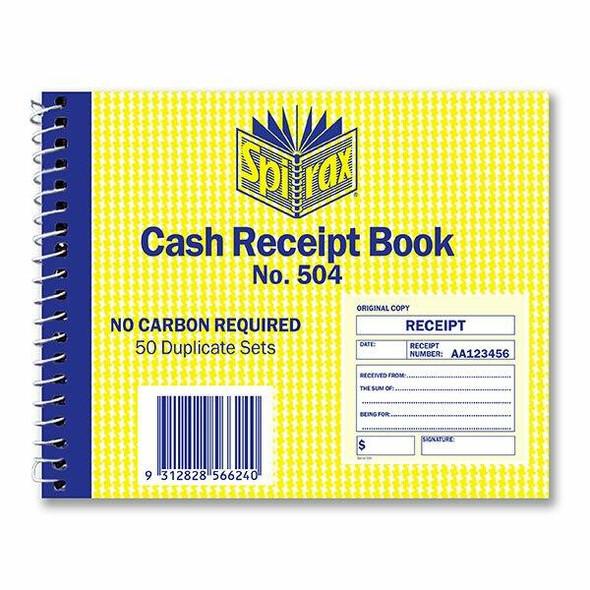 Spirax 504 Cash Receipt Book 102x127mm X CARTON of 5 56504